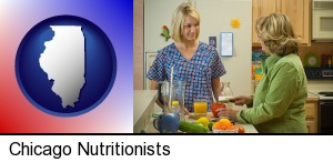 Chicago, Illinois - a nutritionist discussing food choices with client
