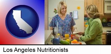 a nutritionist discussing food choices with client in Los Angeles, CA