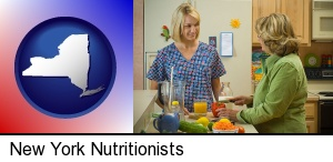 a nutritionist discussing food choices with client in New York, NY