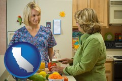 california map icon and a nutritionist discussing food choices with client