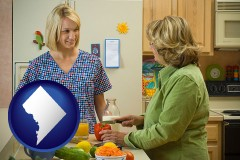 washington-dc map icon and a nutritionist discussing food choices with client