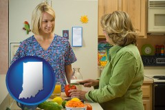 indiana map icon and a nutritionist discussing food choices with client