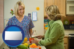 kansas map icon and a nutritionist discussing food choices with client