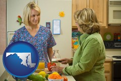 maryland map icon and a nutritionist discussing food choices with client