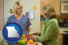 missouri map icon and a nutritionist discussing food choices with client