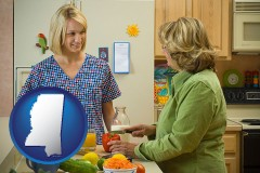 mississippi map icon and a nutritionist discussing food choices with client