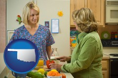 oklahoma map icon and a nutritionist discussing food choices with client