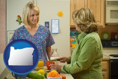 oregon map icon and a nutritionist discussing food choices with client