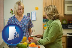 rhode-island map icon and a nutritionist discussing food choices with client