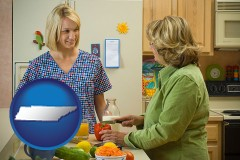 tennessee map icon and a nutritionist discussing food choices with client